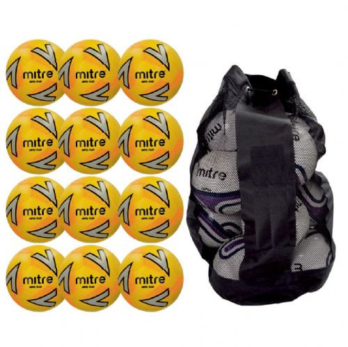 Mitre Impel Plus Training Ball 12 Balls and Bag - Yellow/Silver/Orange